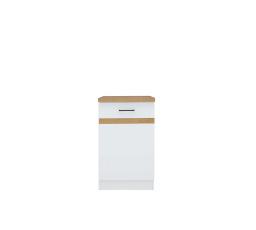 JUNONA D1D/50/82 L bílá/bílý lesk ( prac. deska dub craft zlatý)