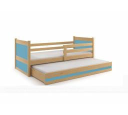 Postel z masivu pro 2 děti RICO 2 - Buk/Modrá