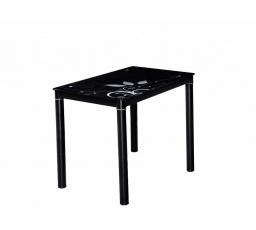 DAMAR (DAMARC80) jídelní stůl 80X60 černý / nohy černé,tvrzené sklo s ornamentem (S) (K150-Z)