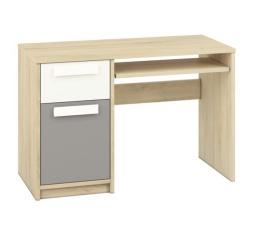 DROP 14 - Psací stůl / Barva korpusu: Buk Fjord + Bílá , doplňková barva: Šedá