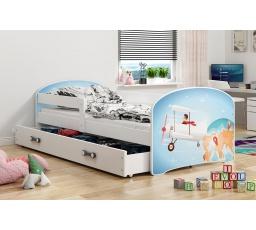 Dětská postel Luki - Bílá (Letadlo) 160x80 cm