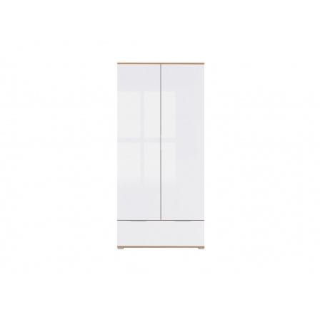 Šatní skříň ZELE SZF2D1S /dub wotan/bílý lesk