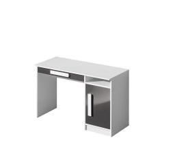 GOLIÁŠ 9- psací stůl (GULIVER 9)-korpus bílá/dvířka šedá lesk/úchyt bílá (DO) (Z)
