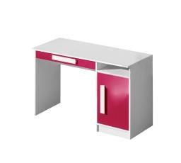 GOLIÁŠ 9- psací stůl (GULIVER 9)-korpus bílá/dvířka růžová lesk/úchyt bílá (DO) (Z)