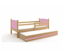 Postel z masivu pro 2 děti TAMI 2 - Buk/Růžová