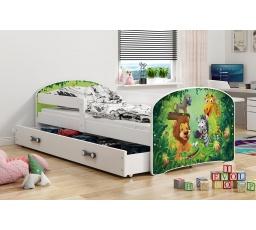 Dětská postel Luki - Bílá (Jungle) 160x80 cm
