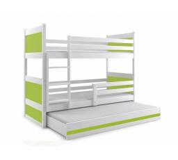 Postel z masivu pro 3 děti RICO 3 - Bílá/Zelená