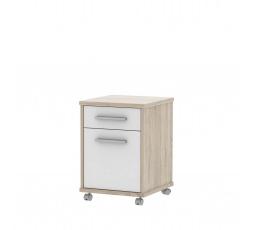 JAVA - kontejner na kolečkách k PC- dub sonoma/bílá (JH07) (K150)