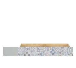 NANDU SZU - ŠUPLÍK (do postele) šedá/dub polský/bílý lesk/arabeska