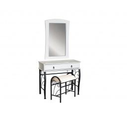 1102 toaletka s taburetem bílá/černá (1102BC) (S) (K150-Z)
