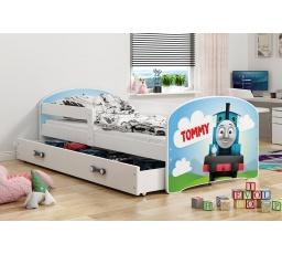 Dětská postel Luki - Bílá (Mašinka) 160x80 cm