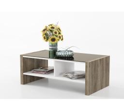ARIA - konferenční stolek  MDF - boky dub San Remo / korpus bílá mat/sklo  ( P7ZEAR90 ) (MM) *** DO VYPRODÁNÍ