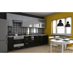 Kuchyňská linka Biodera RLG 300 šedý/černý lesk